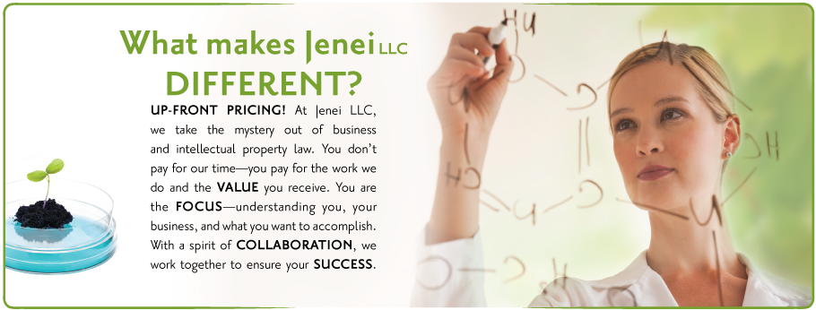 Up-front pricing! At Jenei LLC, we take the mystery out of business and intellectual property law. You don't pay for our time - you pay for the work we do and the value you receive. You are the focus - understanding you, your business, and what you want to accomplish. With a spirit of collaboration, we work together to ensure your success.